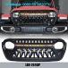 Jeep Wrangler JK JL Front Grill Bumper upper grill LED Light